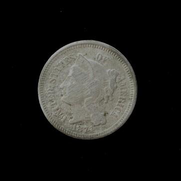 1874 3C NICKEL 5c (Nickel) VF20