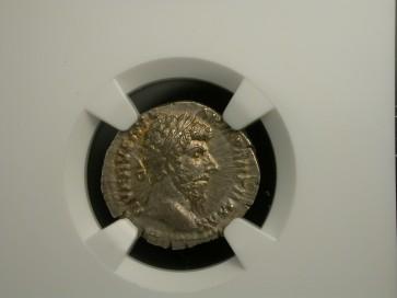 ROMAN EMPIRE, 161-169 AR Denarius AU55 NGC