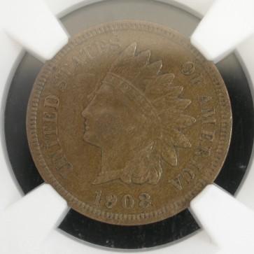 1908-S INDIAN CENT 1c AU50 NGC Brn