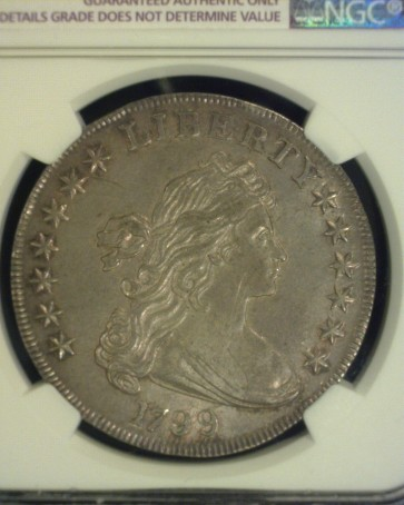 1799 DRAPED BUST/HERALDIC DOLLAR $1 AU50 Details NGC