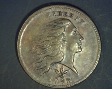 1793 Wreath/Vine-Bar Edge FLOWING HAIR LARGE CENT 1c EF45