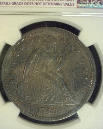 1848 LIBERTY SEATED DOLLAR $1 AU50 Details NGC