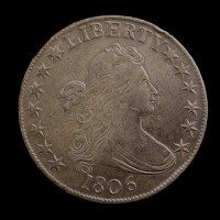 1806 Ptd6 No Stem DRAPED BUST HALF DOLLAR 50c AU50