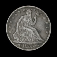 1855-O LIBERTY SEATED HALF DOLLAR 50c EF43