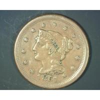 1851 LIBERTY HEAD LARGE CENT 1c AU50