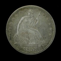 1858 LIBERTY SEATED HALF DOLLAR 50c EF48