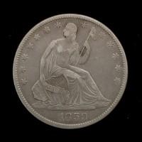 1859/9-O LIBERTY SEATED HALF DOLLAR 50c EF40
