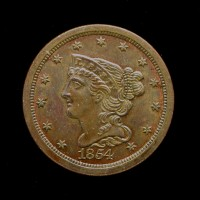 1854 BRAIDED HAIR HALF CENT 1/2c MS64 Brn