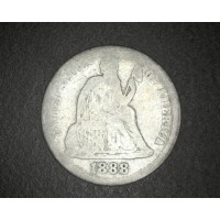 1888 LIBERTY SEATED DIME 10c AG3