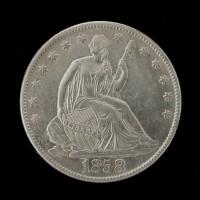 1858-O LIBERTY SEATED HALF DOLLAR 50c AU50