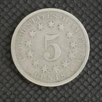 1869 Rev of 1870 SHIELD NICKEL 5c (Nickel) AG/VG