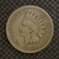 1859 INDIAN CENT 1c F/G