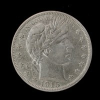 1915-S BARBER HALF DOLLAR 50c AU55