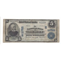 1902 Blue Seal $5 NATIONAL BANK NOTE $5 VG10