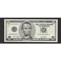 2003 $5 FEDERAL RESERVE NOTE $5 GEM CU
