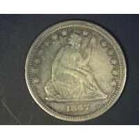 1867-S LIBERTY SEATED QUARTER DOLLAR 25c EF40