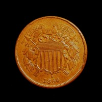 1864 LM TWO CENT PIECE 2c MS64 RB