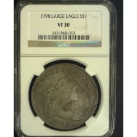 1798 Ptd9 Wide Date DRAPED BUST/HERALDIC DOLLAR $1 VF30 NGC