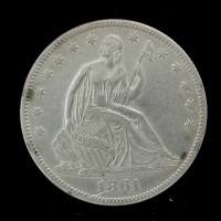 1861 LIBERTY SEATED HALF DOLLAR 50c AU50