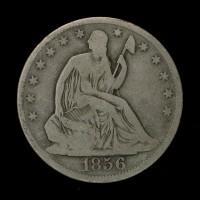 1856-O LIBERTY SEATED HALF DOLLAR 50c VG10