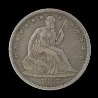 1867-S LIBERTY SEATED HALF DOLLAR 50c EF45