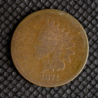 1874 INDIAN CENT 1c AG/G