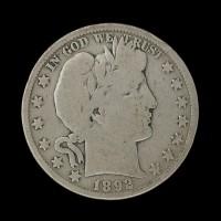 1892-O BARBER HALF DOLLAR 50c VG/G
