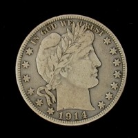 1914-S BARBER HALF DOLLAR 50c VF30