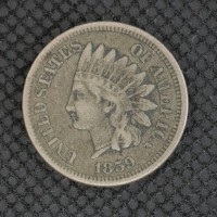 1859 INDIAN CENT 1c VF20