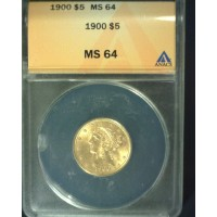 1900 LIBERTY $5 GOLD $5 MS64 ANACS