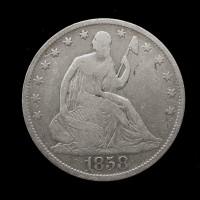 1858-O LIBERTY SEATED HALF DOLLAR 50c F12