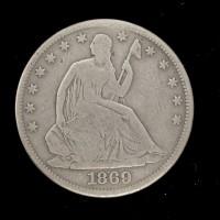 1869 LIBERTY SEATED HALF DOLLAR 50c VG8