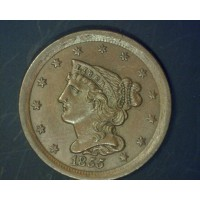 1855 BRAIDED HAIR HALF CENT 1/2c MS64 Brn