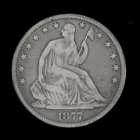 1877 LIBERTY SEATED HALF DOLLAR 50c F12