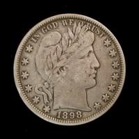 1898 BARBER HALF DOLLAR 50c F15