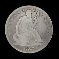 1877 Ty'2 Rev LIBERTY SEATED HALF DOLLAR 50c G4