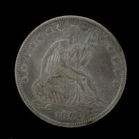 1860-O LIBERTY SEATED HALF DOLLAR 50c AU50