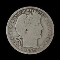 1892-S BARBER HALF DOLLAR 50c G4