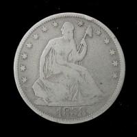 1858 Ty'1 Rev LIBERTY SEATED HALF DOLLAR 50c G6