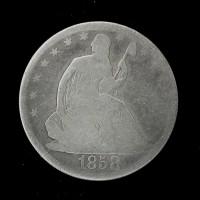 1858/inv'1' LIBERTY SEATED HALF DOLLAR 50c G4