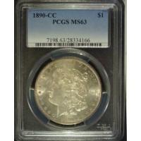 1890-CC MORGAN DOLLAR $1 MS63 PCGS