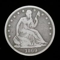 1869 LIBERTY SEATED HALF DOLLAR 50c VG10
