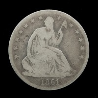 1861 LIBERTY SEATED HALF DOLLAR 50c G5