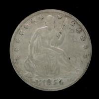 1854-O LIBERTY SEATED HALF DOLLAR 50c VG8