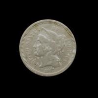 1867 NICKEL THREE CENT PIECE 3c F12