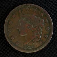 1838 LIBERTY HEAD LARGE CENT 1c F12
