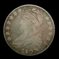 1807 Lg Stars CAPPED BUST HALF DOLLAR 50c VF20