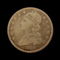 1834 No Period CAPPED BUST QUARTER DOLLAR 25c VG10