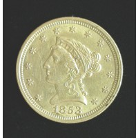 1853 LIBERTY $2 50 GOLD $2.50 AU58