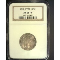 1917-D Ty'1 STANDING LIBERTY QUARTER 25c MS65 NGC FH